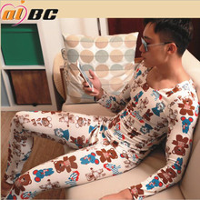 New AIBC men s long johns set cotton printed flower legging autumn and winter thermal underwear