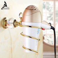 Bathroom Shelves Brass Crystal Bathroom Wall Shelf Wall mounted Hair Dryer Storage Hairdryer Support Spiral Stand Holder HK-36