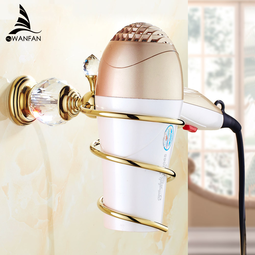 Bathroom Shelves Brass Crystal Bathroom Wall Shelf Wall mounted Hair Dryer Storage Hairdryer Support Spiral Stand Holder HK-36