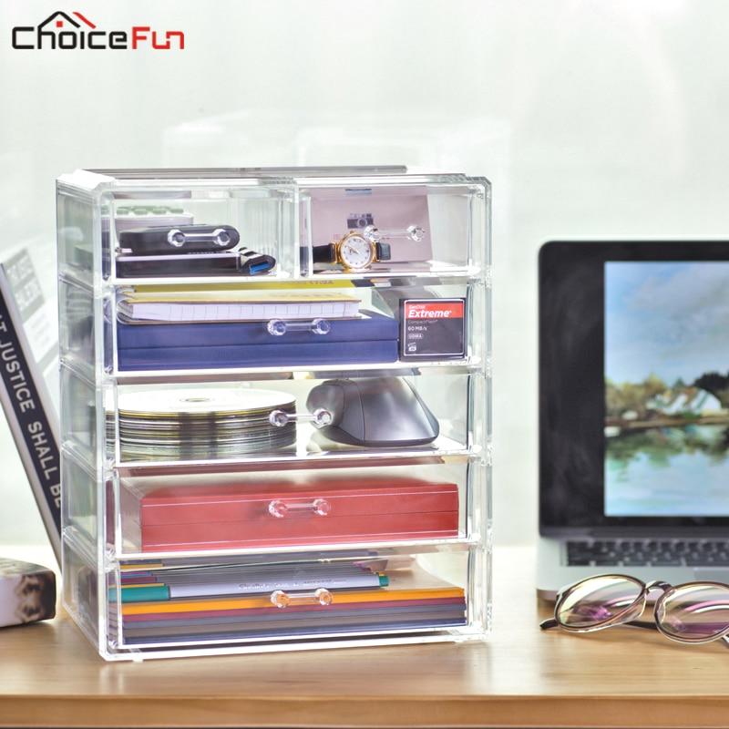 CHOICEFUN Grande Multi Lucido Acrilico Trasparente Articoli Per La Casa Organizer Box Di Plastica del Desktop 5 Cassetti Contenitori e articoli per Ufficio e Casa Per Scrivania