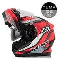 2015 New arrival YEMA quatro temporada completa rosto capacete da motocicleta lentes duplas capacete aberto da cara dos homens locomotiva corrida capacete