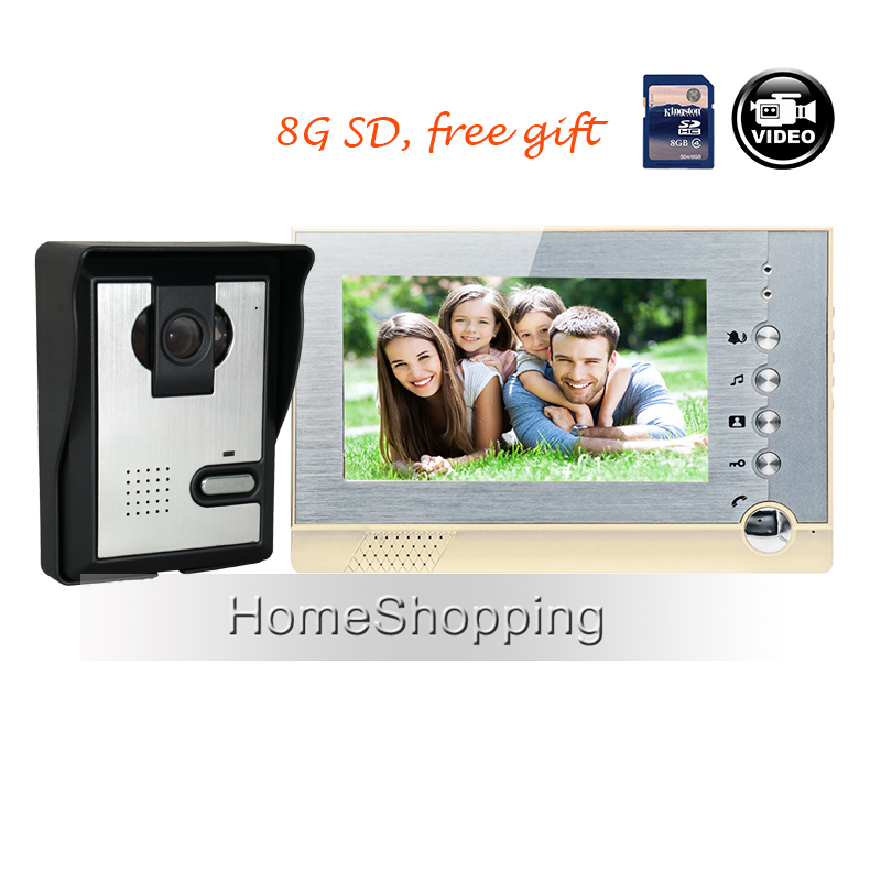 FREE SHIPPING 7 inch Color Recording Video Door Phone Intercom System + Night Vision IR Door Camera + 1 Monitor + 8G IN STOCK tmezon 4 inch tft color monitor 1200tvl camera video door phone intercom security speaker system waterproof ir night vision 1v1