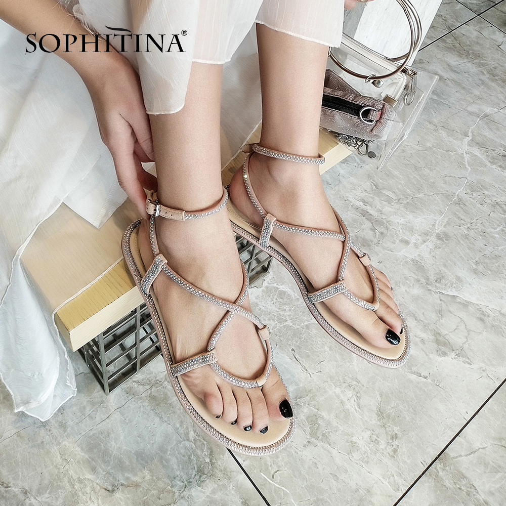 SOPHITINA Female Summer Comfortable Breathable Solid Basic Flats Sandals Leisure High quality Buckle Woman Cruise Shoes