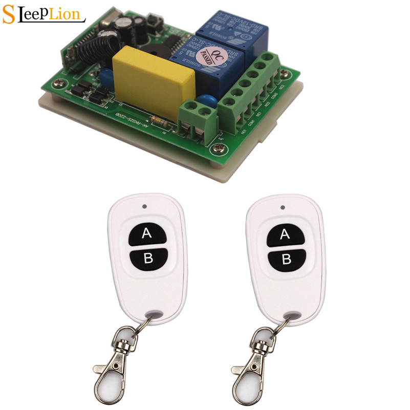 Sleeplion AC 220V 2CH Remote Controller Switch RF Wireless Receiver And Transmitter 2 Channel Remote Control Switch 315/433MHzSleeplion AC 220V 2CH Remote Controller Switch RF Wireless Receiver And Transmitter 2 Channel Remote Control Switch 315/433MHz