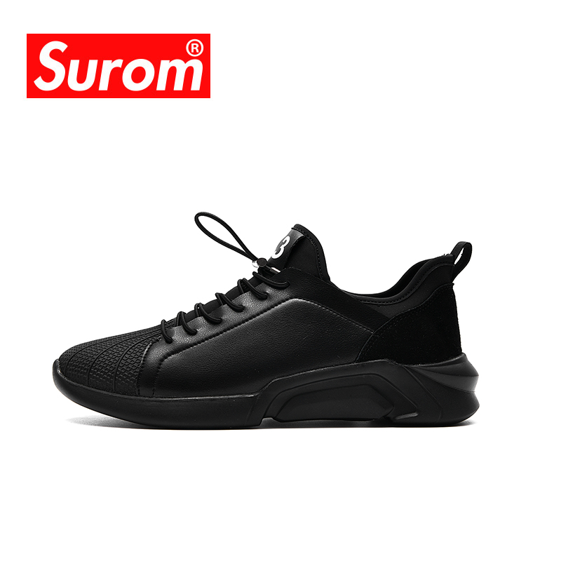 SUROM Brand Men Sport Outdoor Running Shoes Black Sneakers Summer Tenisky Comfortable Breathable Krasovki Men Walking Shoes