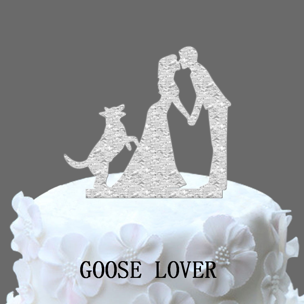 Online Shop Silhouette Wedding Cake Topper With Dog Acrylic Vintage Personalized Just Married