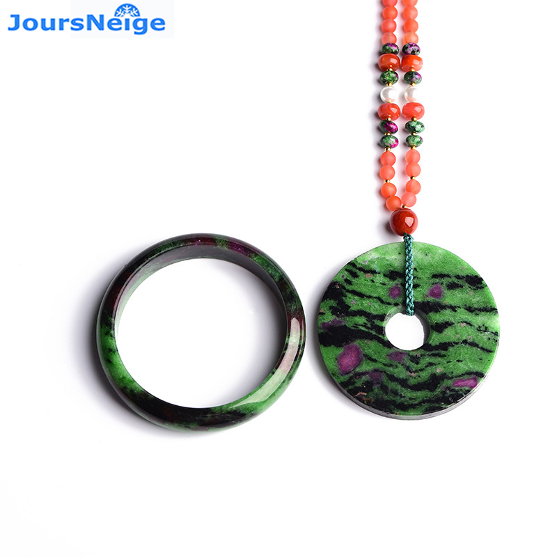 Fine Genuine Red Green Treasure Stone Natural Crystal Jewelry Sets Safety Button Pendant Necklace Bangle for Women Gift JewelryFine Genuine Red Green Treasure Stone Natural Crystal Jewelry Sets Safety Button Pendant Necklace Bangle for Women Gift Jewelry