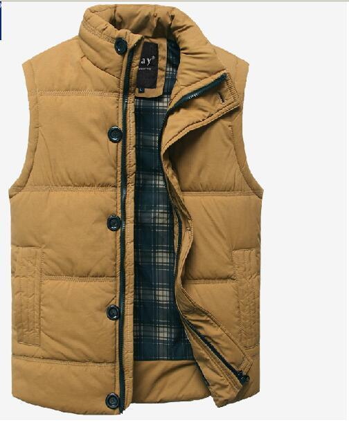 2016 de Invierno Nueva Moda Para Hombre Delgado Sin Mangas Espesar Abrigo de Invierno Cálido Chaleco Chaquetas verde Del Ejército Outwear M-6XL Envío Gratis