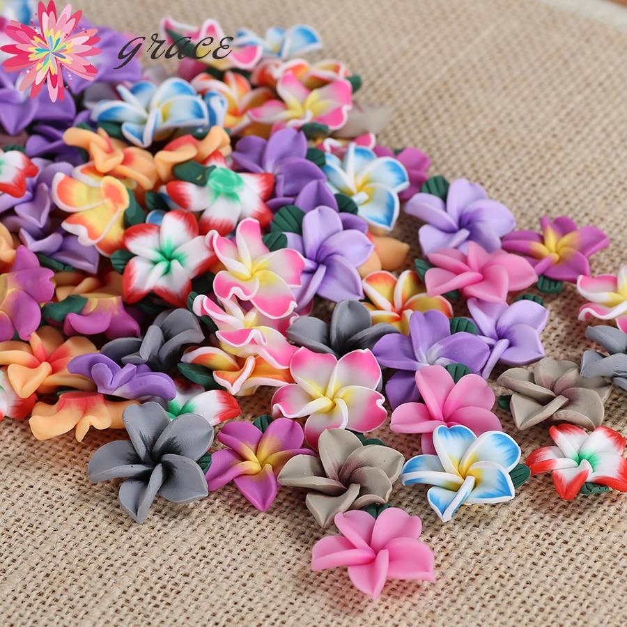 20pc/lot 25mm Hawaii Plumeria Flowers Charms Accessories