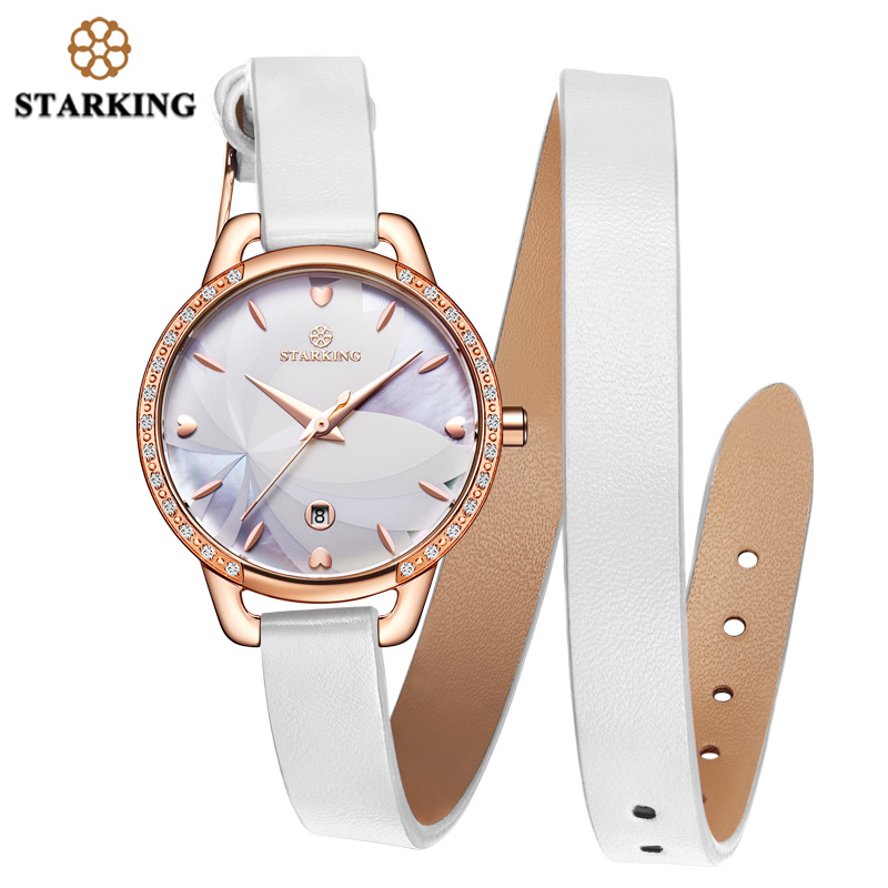 STARKING Hand Clock Watch Woman Elegant Fashion Women Designer Watch Famous Brand Simple Ladies Gift White Leather Wristwatch