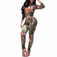Jumpsuits For Women 2017 Sexy Deep V Neck Autumn Bodycon Long Sleeve Africa Print Bandage Jumpsuit