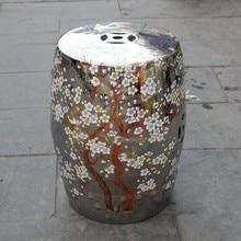 Silver Plum Blossom Jingdezhen Antique Home Drum Porcelain Garden Stool  High Temperatured Glazed Hand Painted Ceramic Stools