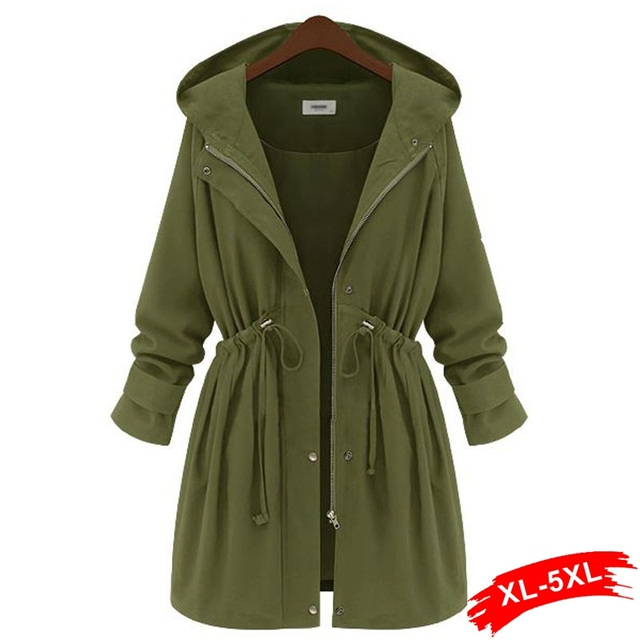 Plus Size Army Green Long Coat Cardigan Hooded Drawstring Trench Coat Feminino Women Long Coats Ladies Female Overcoat 4XL 5XL