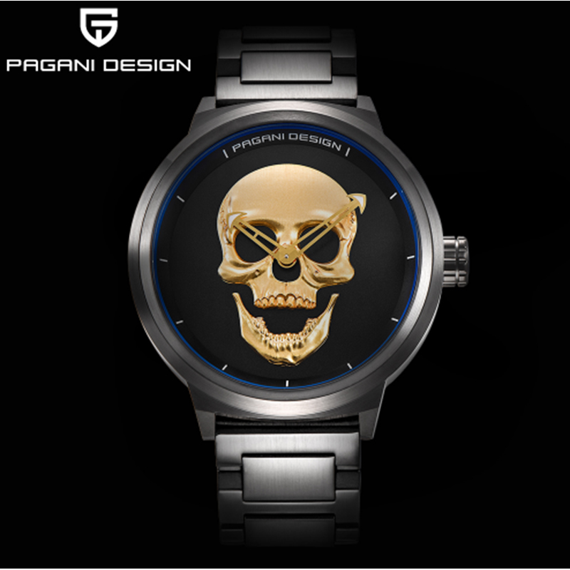 PAGANI brand design punk skull 3D personality watch large dial retro design men