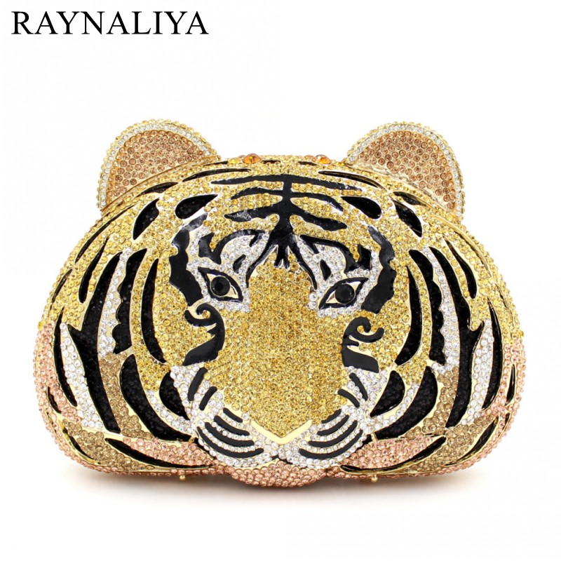 Tiger Crystal Evening Bags Women Luxury Clutch Prom Bag Studded Diamond Evening Clutches Purse Party Animal SMYZH-E0216 new women handmade prom clutch evening bag luxury party bags lady crystal minaudiere diamonds day clutches smyzh e0067