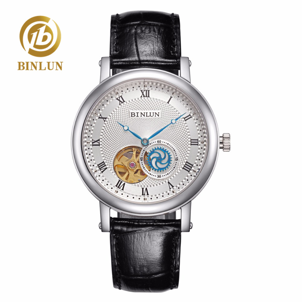 BINLUN Skeleton Dial Design Men Automatic Watch Super Thin Movement Mechanical Men's Watch Genuine Leather Strap Luxury Watches цена