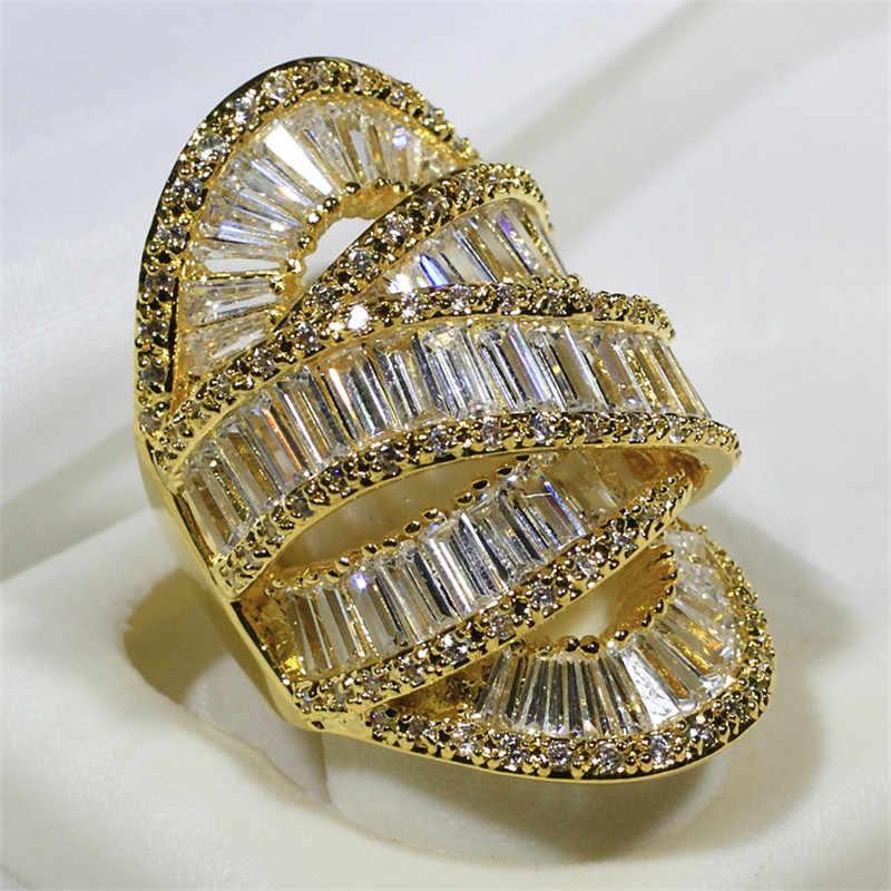 Choucong Big ข้ามนิ้วมือแหวน 925 เงินสเตอร์ลิง AAAAA CZ งานแต่งงานแหวนสำหรับผู้หญิงผู้ชายเครื่องประดับทำด้วยมือ