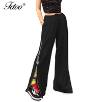 Fetoo Women Wide Leg Pants Fashion Zipper Side Split Pants Bottom Women's Pants Black Elastic Waist Casual Ladies Trousers Sexy