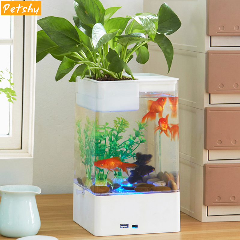 Mini Aquariums Acrylic Plastic USB Fish Tank with LED Portable Betta Fish Bowl Aquatic Pet Supplies for Indoor Office Decor