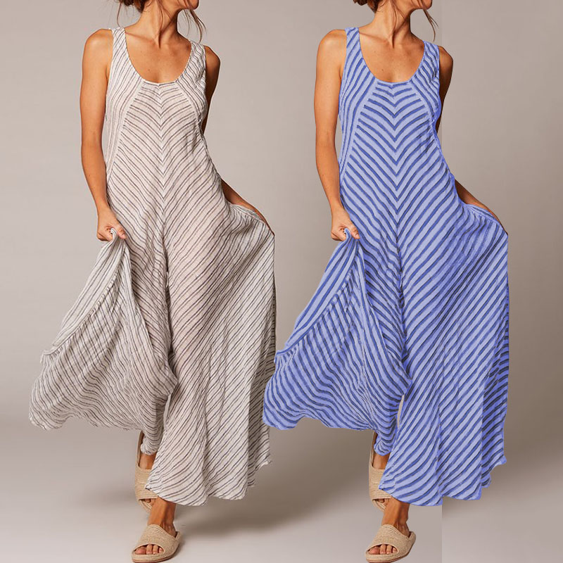 Celmia Elegant Women Striped   Jumpsuits   2019 Summer Sleeveless Rompers Casual Wide Leg Pants Loose Playsuits Femme Overalls S-5XL