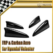 Автомобиль стайлинг Для Hyundai Veloster Углеродного Волокна Переднего Бампера Canard Коготь 4 шт. Fit Turbo Or Non Turbo