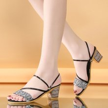 woman sandals 2019 summer  high heels women big girl shoes Rubber Basic Solid New pattern Big size womens