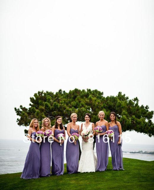 Gorgeous Floor Length Sweetheart Purple Pebble Davina Daniel Beach Bridesmaid Dress HDM6