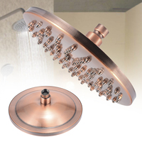 Mayitr 1pc Red Bronze Copper Round Shower Head Rainfall Rain Bathroom Shower Head Sprayer 8 inch Bathroom Hardware