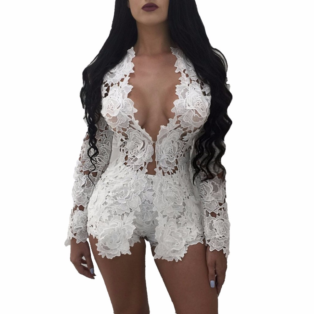 3179 Hot sale women 2017 lace   jumpsuit   full sleeve sexy rompers white bodycon rompers red white and black 3 colors