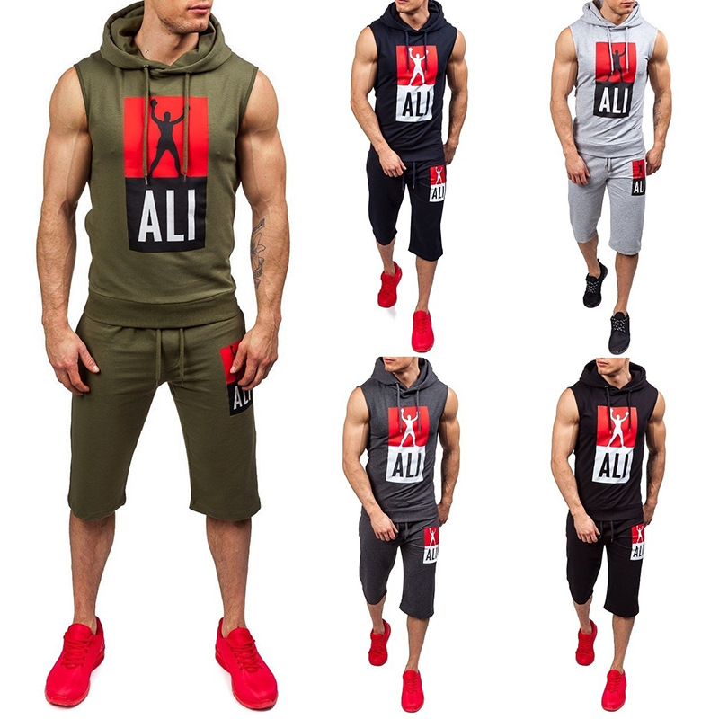 New Mens Sleeveless Sets 2018 Fashion Sportswear Tracksuits Sets Mens Shark Hoodies+Pants casual Outwear Suits