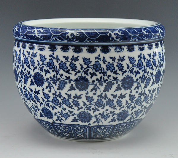 Chinese Antique Qing Qianlong Mark Blue And White Porcelain Ceramic Fish Bowl Flower Pot In Pots Planters From Home Garden On Aliexpress