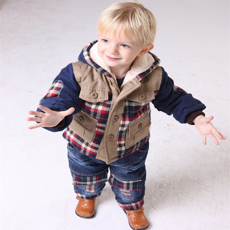 ФОТО Anlencool Top Canvas Hooded Roupas Meninos New Children's Winter Coat Suit Latest Baby Clothing Brand Clothes Set Boys