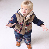 Free Shipping2013 New Children S Winter Coat Suit Latest Baby Clothing Brand Clothes Set Boys Winter