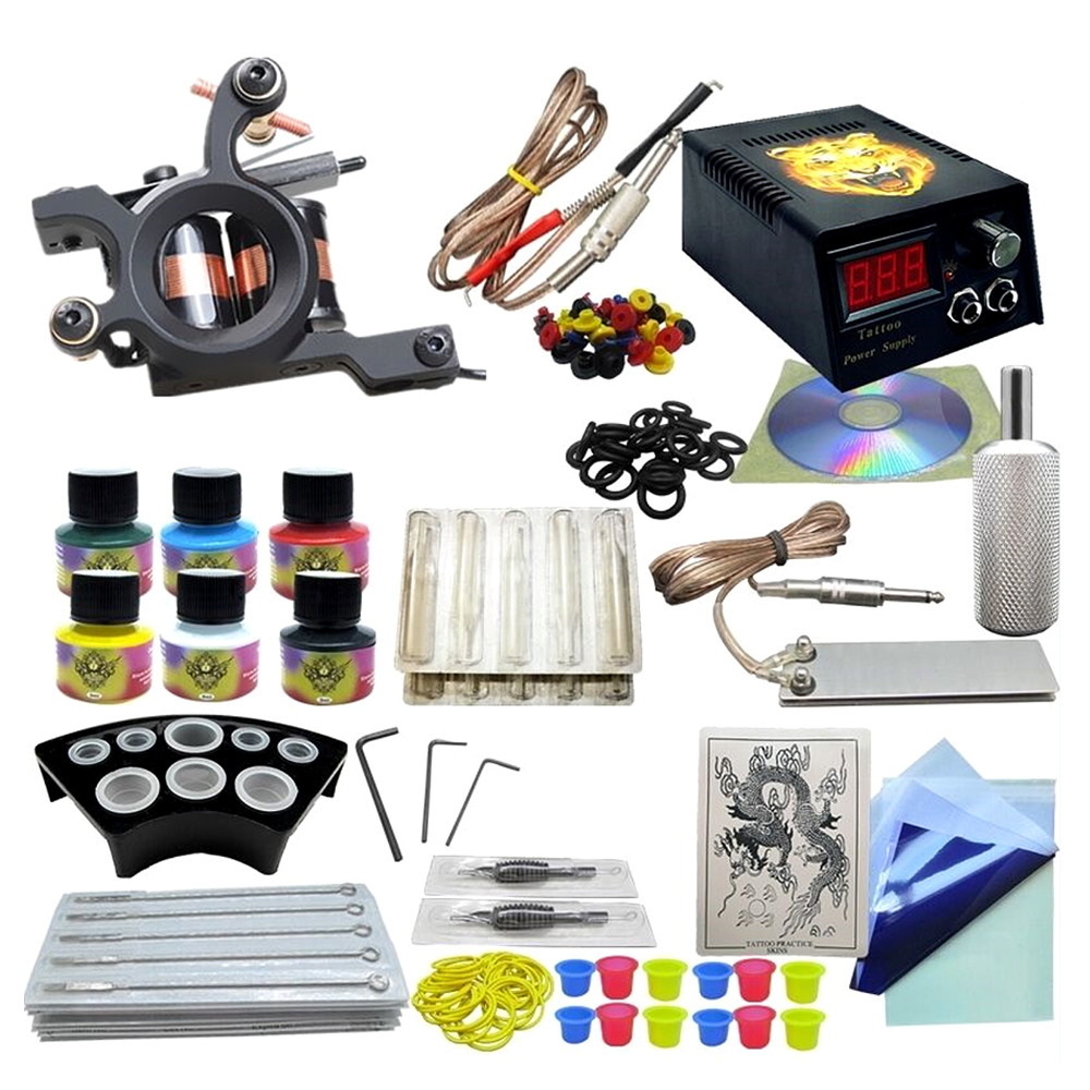 Completed Tattoo 6 Colors Ink Set One Tattoo Machine Black Power Supply Needles Permanent Make Up Tattoo Kit 5# complete tattoo kit set tattoo machine gun power needles with 10colors ink permanent make up body tattooing art supply 2017