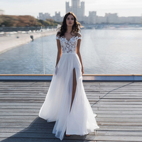 Verngo Beach Wedding Dress Lace Appliques Tulle Summer Bride Dress Side Slit Wedding Gowns Elegant Long Dress Robe De Mariee