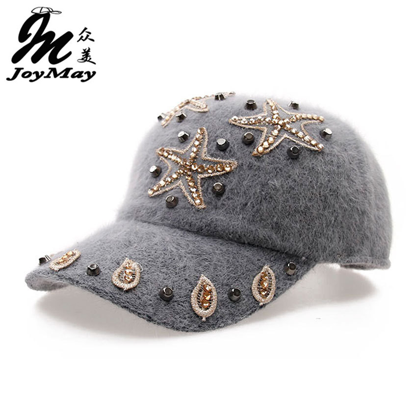 Free shipping fashion winter hat rabbit fur baseball cap Starfish Women's Autumn and Winter cap W010 free shipping new winter unisex oversized slouch cap plicate baggy beanie knit crochet hot hat y107