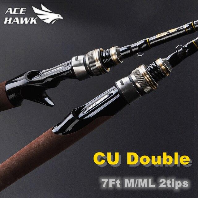 ACE HAWK 2.1m M/ML  Double Tips Bass Fishing Rod Cheap China Lure Fishing Rod 4-15g Casting Light Jigging Rod 2 Sections