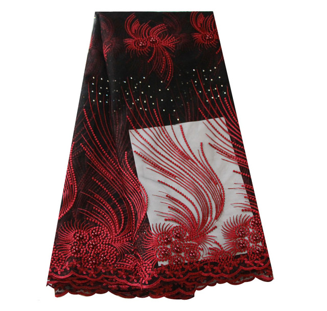 dc3bf0681b6c3 Wine black african lace fabric 2018 high quality lace blush pink nigerian  lace fabrics with beads stones tulle net lace -in Lace from Home & Garden  on ...