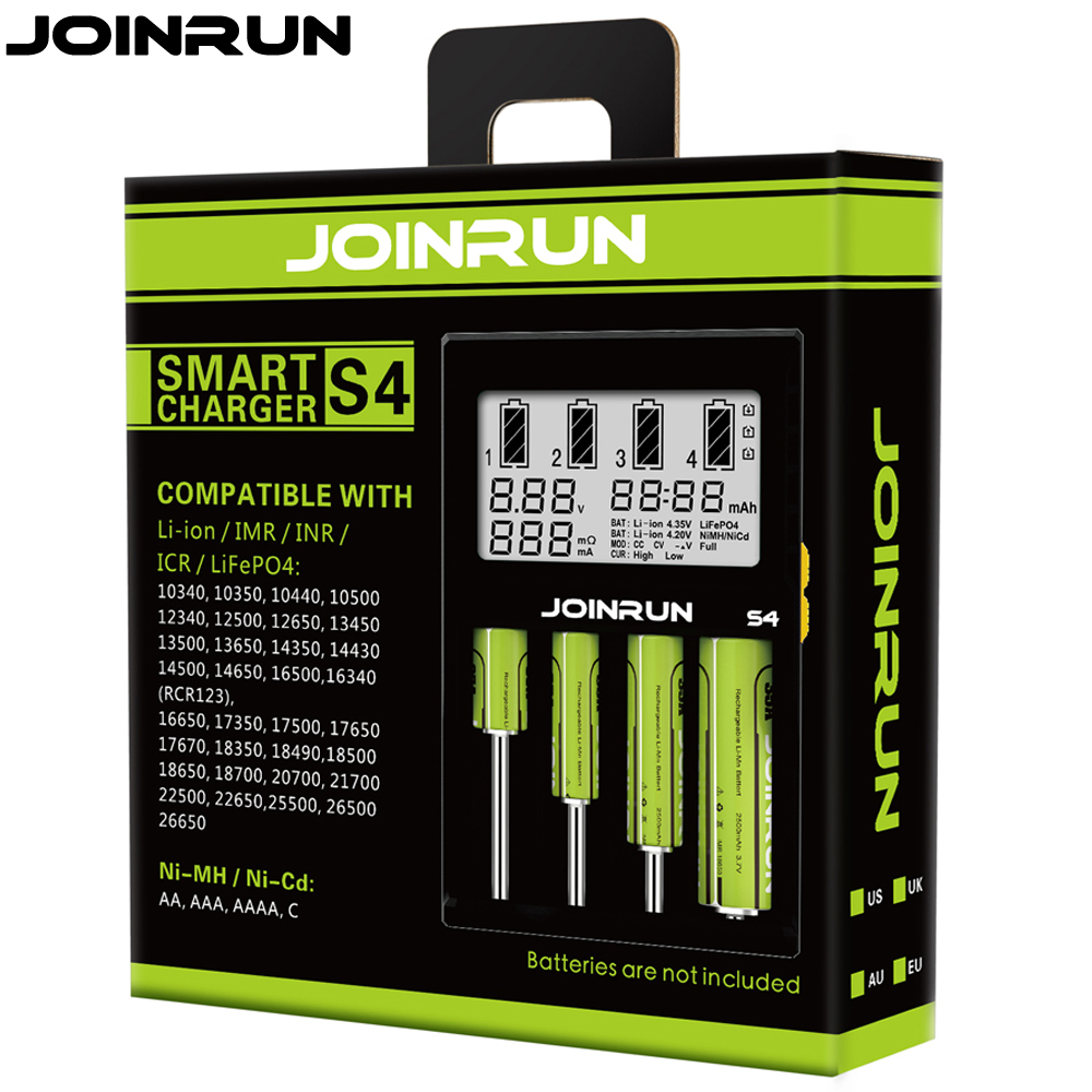 Joinrun S4 18650 charger white LCD Screen Smart Battery Charger Li-ion 18650 14500 16340 26650 AAA AA DC 12V Battery Charger liitokala 2pcs li ion 18650 3 7v 2600mah batteries rechargeable battery with portable battery box and 2 slots usb smart charger