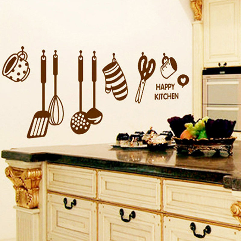 Happy kitchen wall decal vinyl home art mural decor wall stickers jpg