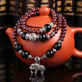 Natural Garnet Black Onyx Multilayer Stretch Crystal Bracelets For Women Elephant Bracelet Tissu Prayer Beads