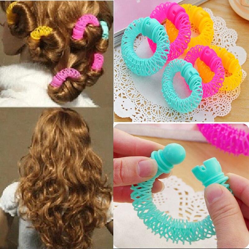 8pcs/16pcs Plastic Magic Hair Curlers Rollers Circle Hair Accessories Spiral Curls DIY Tools For Women Braid Hair Styling Tools