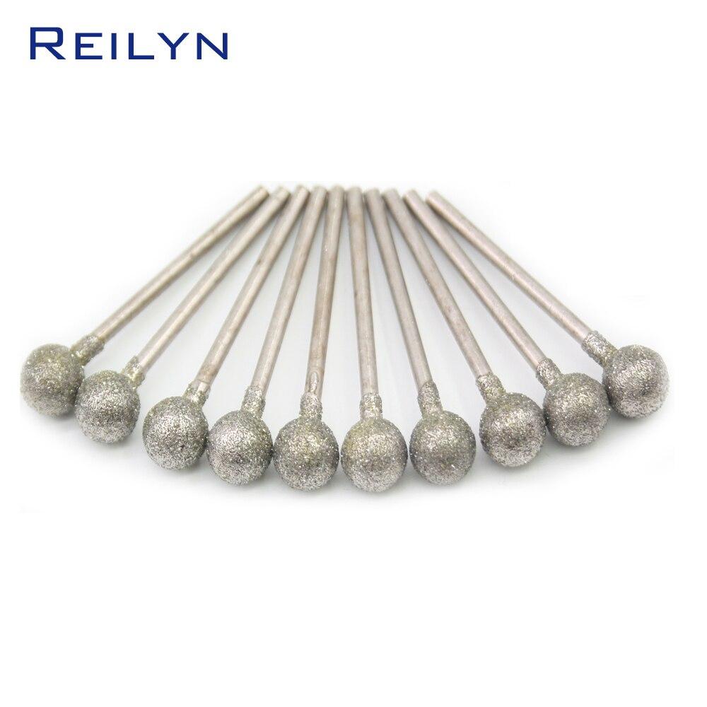 36pcs 2.35mm Midium grade Ball shape Emergy diamond abrasive bits peeling needle F type bits die grinder/dremel/rotary tools