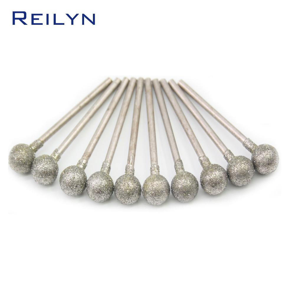 Punte da 2,35 mm Punte abrasive diamantate a forma di sfera di medio grado Ago per sbucciatura Punte di tipo F die grinder / dremel / utensili rotanti per dremel