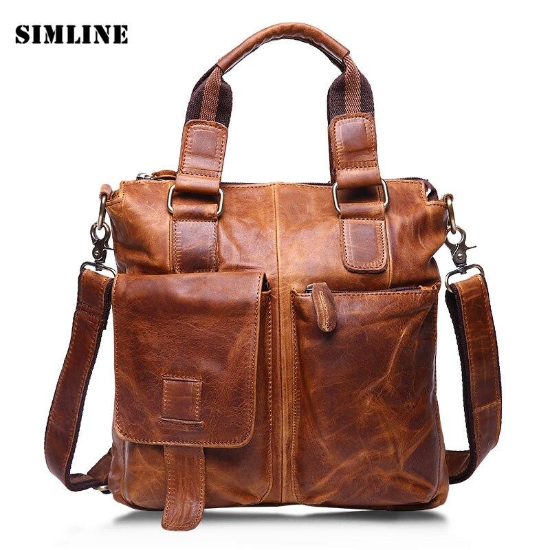 ФОТО Luxury Brand Vintage Fashion 100% Genuine Crazy Horse Leather Cowhide Men Handbag Shoulder Messenger Bag Bags Briefcase For Man