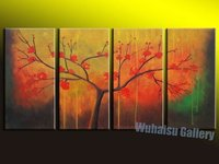 Modern Abstract Huge Wall Art Oil Painting On Canvas red leave tree living room decoration