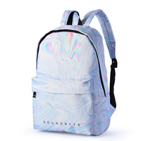 Street Fashion Holographic Canvas Backpack Women Casual Rucksack Travel Bagpack Silver White Bookbag School Bag Lady