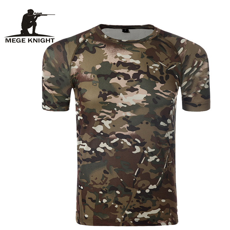 Camouflage Shirt Quick Dry Breathable Tights Army Tactical T shirt Mens Compression T Shirt Fitness Summer