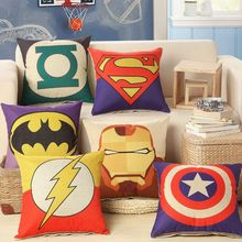 45x45cm/17.7x17.7 Linen Cushion Cover Super Hero For Decorative Cotton Throw Pillowcase Decor Couch