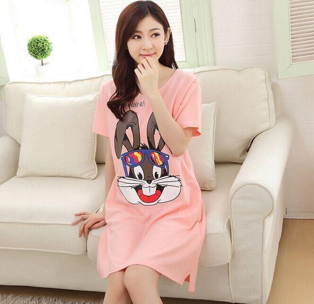 Verão de Manga Curta Pijama Bonito Dos Desenhos Animados Bugs Bunny Pijamas Camisola das Mulheres camisola feminina